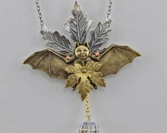 Handmade Fall Leaves and Bat Assembly Necklace 4 Inch Tall With 22 Inch Chain