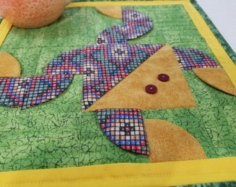 QUILTED FROG MugRug SnackMat CandleMat in Yellow Green Red Blue Approx 11 inches square.  A Quiltsy Handmade on Etsy Item