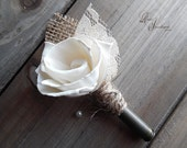 Will ship in 4 weeks ~~~ Rustic Bullet Casing Boutonniere, Sola Flower Rose, Bullet Shell Casing Unpolished, Twine, Burlap and Lace.
