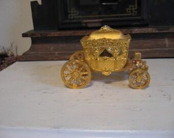 Golden Cinderella's Carriage Ring Holder Engagement Wedding Anniviersary Birthday Valentines Day Bat Mitzvah push present!