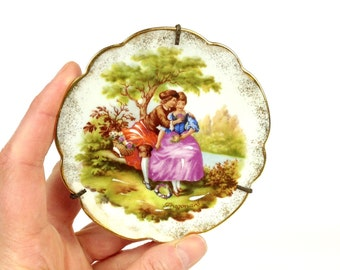 L Moges Made in France Fragonard Miniature Plate Wall Hanging, Limoges Plate, Tiny Plate