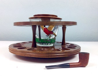 Vintage Wood Pipe Stand with Tobacco Jar , Fathers Day Gift, Office Decor, Guy Gift, Wild Birds, Hunting Cabin Decor