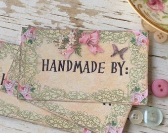 Handmade by notecards - handmade notecards- mini notecards - shabby chic - flowers