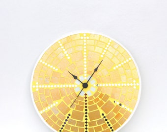 Mosaic Wall Clock Large Glass Mosaic Yellow Wall Art, Mosaic Home Decor Decoration, Housewarming Gift Unique, Easter Decor Decoration