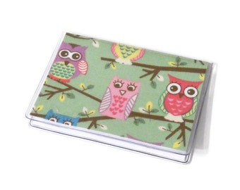 SALE Card Case Mini Wallet Owls on a Branch Mint