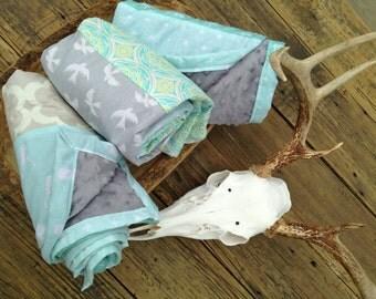 Aqua DEER/triangle baby blanket