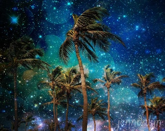 palm tree print - starry night sky print - tropical decor - surreal nighttime photography