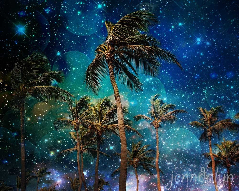 palm tree print starry night sky print tropical decor