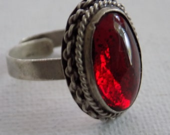 Vintage sterling silver Mexico 83 numerical eagle mark (EME?) dragon's breath expandable ring