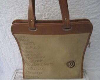 Vintage large canvas designer name bag vinyl tan brown