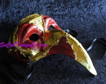 Long Nose, Mask, Plague Doctor Mask, Venetian Mask, Halloween Mask, Red Mask, Gold Mask, Italian Mask, Spooky Mask, Mens Mask