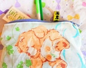 Care Bears upcycled vintage style zipper top pencil or cosmetic bag