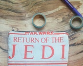 star wars movie logo upcycled make up or pencil bag vintage style return of the jedi