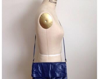 Vintage 80s Indigo blue clutch purse