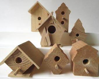 """7 Unfinished Wood Birdhouses 3"""""""