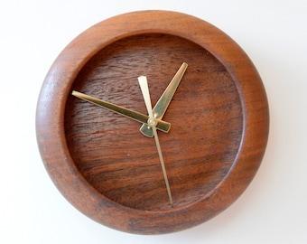Wood Wall Clock, Small Clock, Turned Wood Clock, Black Walnut Clock