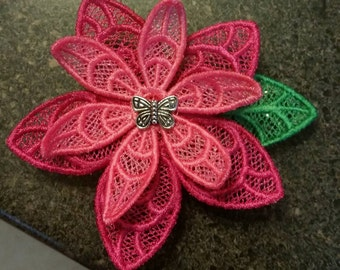 CUSTOM Embroidered Lace Flower Barrette Hair Clip (Made to Order)