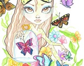 Fantasy Art Printable Page - Digital Download - Fantasy Art - Butterfly Girl by Leslie Mehl Art