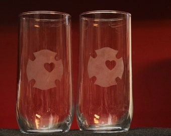 2 glass tumblers firefighter fire rescue Maltese cross etched into the glass
