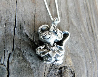 Mouse Necklace - Sterling Silver Mouse Necklace - Mouse Pendant - Animal Necklace - Keepsake Necklace