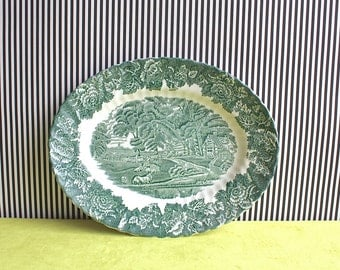 Vintage Enoch Wood Ware, Wood & Sons Oval Green English Scenery Platter