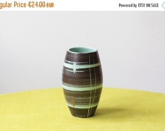 WAKEUP Mid Century Modern East German Pottery Vase VEB Haldensleben in Brown and Aqua Green