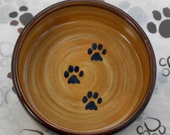 Paw Print bowl in Chocolate Brown & Tan (Medium)
