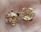 4 pcs 15 mm,24K Gold Filled Flower Bead Cap,filled Brass Bead Cap, Charms Jewelry Findings,Gold Filled Simple Bead Cap