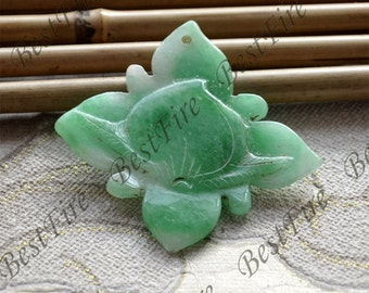 Green jade caving leaf and peach pendant Bead,gemstone pendant Carved Jade Pendant , jade pendant  jewelry