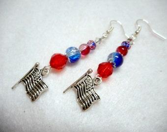 Patriotic Earrings, Patriotic Jewelry, Red White Blue, Women's Earrings, Women's Jewelry, 4th of July Earrings, Memorial Day Earrings, USA