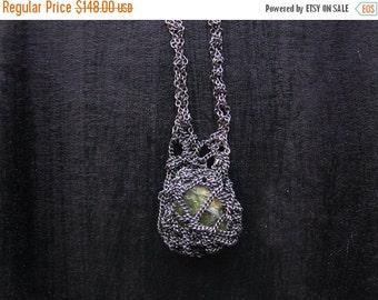 30% SALE green peridot necklace, oxidized sterling silver, crochet necklace, ooak