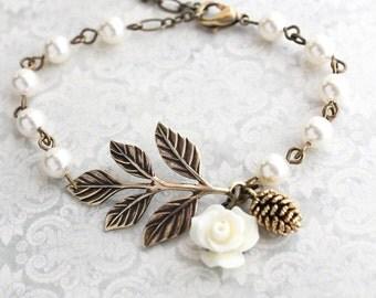 Rustic Branch Bracelet Pinecone Rose Charm Bracelet Bridesmaids Gift Bridal Jewelry Ivory Pearl Bracelet Adjustable Size Woodland Wedding