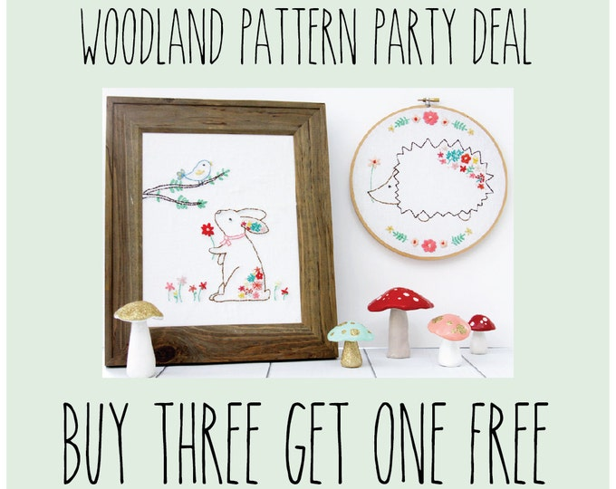 Woodland Floral Animal Pattern Set