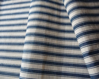 RESERVED ON HOLD   ticking blue stripe ticking original linen ticking