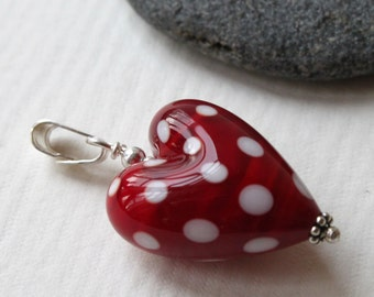 Polka Dots, Bright Red Heart Shaped Glass Bead Pendant with White Polka Dots, Sterling Silver, Lampwork Jewelry, Handmade, Glass Heart,