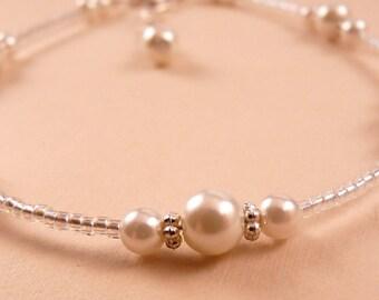 Pearl Anklet Ankle Bracelet White Pearl Anklet  Beaded Anklet Beaded Jewelry Pearl Jewelry White Jewelry White Ankle Bracelet