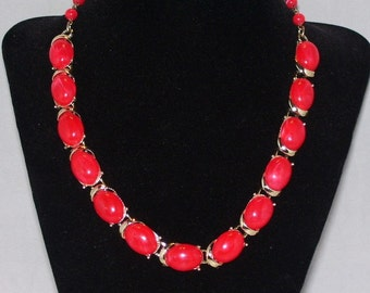 Vintage Coro Necklace Red Lucite Plastic 1950s 1960s Mid Century Jewelry
