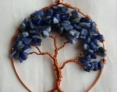 Wire Wrapped Tree of Life Ornament with Variegated Blue Chip Stone