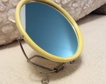 20% OFF SALE Vintage Vanity Mirror Round Cream Plastic with Wire Curly Stand 1960s Makeup