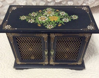20% OFF SALE Vintage Ornate Black with Yellow Daisies Wood Jewelry Box Musical Red Velvet Inside Flower Japan
