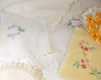 SALE ITEM Destash Lot of 12 Vintage Linens, Doilies, Napkins, Pillowcase for Crafting or Sewing