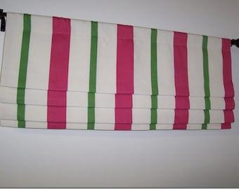 Custom Faux Roman Shade Watermelon Pink Kelly Green Stripe