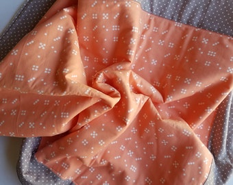Peach and grey baby blanket, fleece play mat, fleece baby blanket