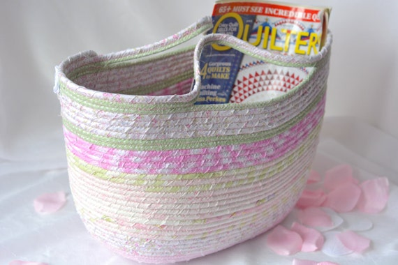 Pink Tote Bag, Handmade Fabric Basket, Shabby Chic Moses Basket, Lovely Pink Storage Organizer, Picnic Basket with handles, Gift Basket