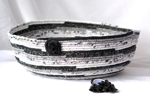Handmade Cotton Baskets : Black cat bed handmade grey cotton basket by wexfordtreasures