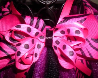 Pink and Black Zebra Hair Bow