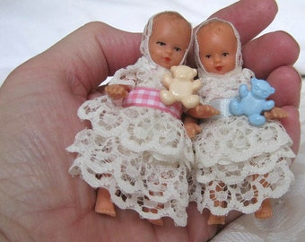 Tiny Doll Choose Pink or Blue - Miniature 1950s Baby Doll Twins - Jointed Tiny Doll - Miniature Baby Doll Dressed in Lace