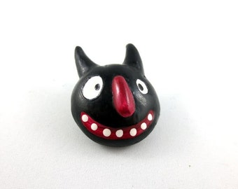 Impish Black Cat - Wearable Art Pin