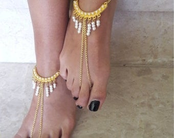 Barefoot Sandals bead , wedding , Bikini , Women , Beach , Bridal Shoes , Bridal Sandals , Bridal Jewelry ,shoes , READY TO SHIP
