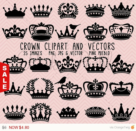Sale! Crown Clipart Clip Art, Crown Silhouette Clipart Clip Art - Commercial and Personal Use